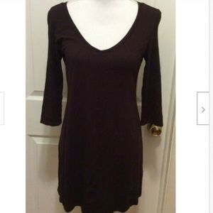 Eileen Fisher Dress XS Solid Brown V-Neck